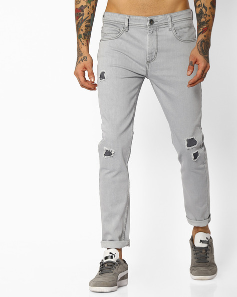 Skinny Fit Distressed Jeans By ADAMO LONDON ( Grey )