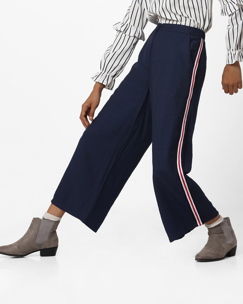 Flared Mid-Rise Trousers With Striped Sides By Ginger By Lifestyle ( Blue )