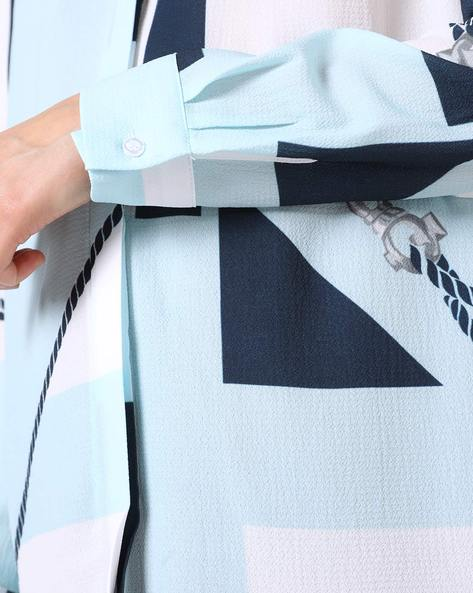 Printed Shirt With Colourblock Pattern By TRENDYOL ( Blue )
