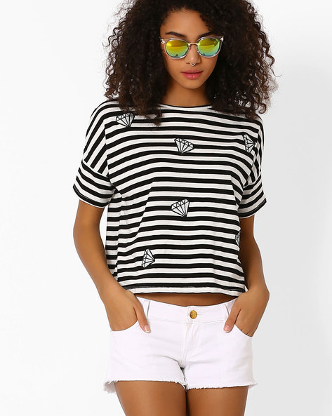 Striped Crop T-shirt By Only ( White )