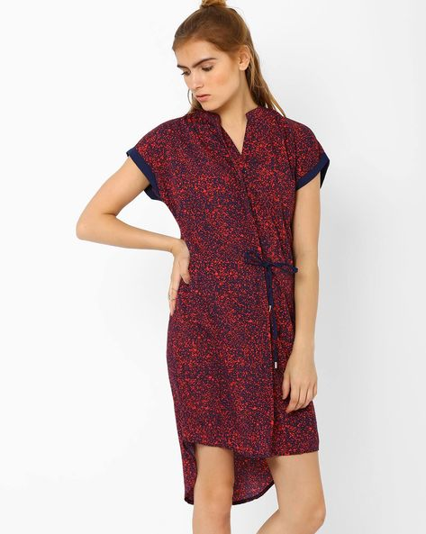 Printed High-Low Dress By CHM ( White )