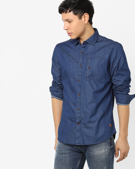 Cotton Shirt With Spread Collar By DNMX ( Blue )