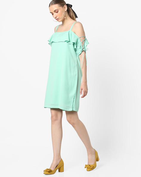 Strappy Dress With Tie-Up Sleeves By AJIO ( Lightgreen )