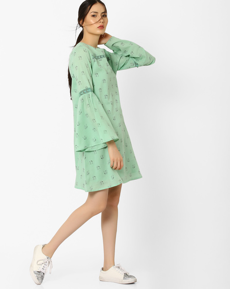 Printed Shift Dress With Bell Sleeves By AJIO ( Lightgreen )