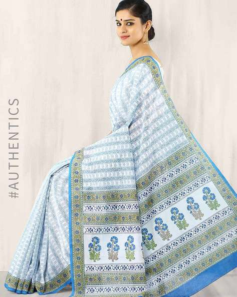 Hand Block Print Chanderi Saree By Indie Picks ( Blue )