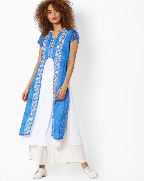 Straight Kurta With Printed Overlay By Indian Ink ( Blue )