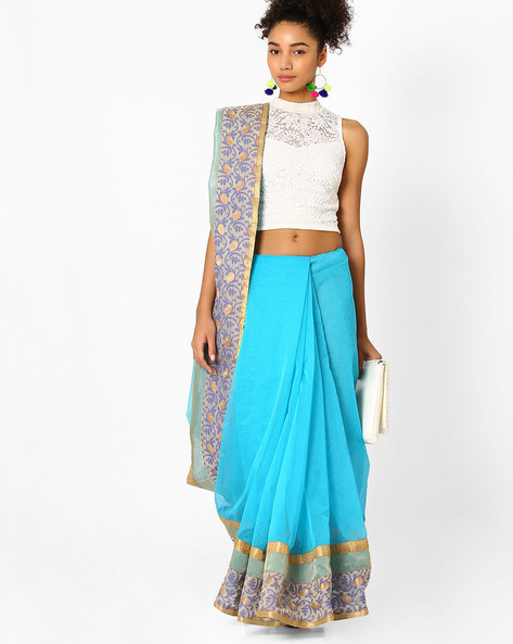 Saree With Floral Embroidery By Amori ( Blue )