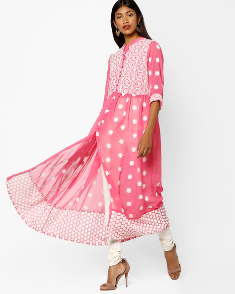 Embroidered Maxi Dress With Front Slit By Shree ( Pink )