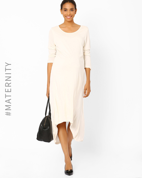 High-Low Maternity Dress By AJIO ( Beige )