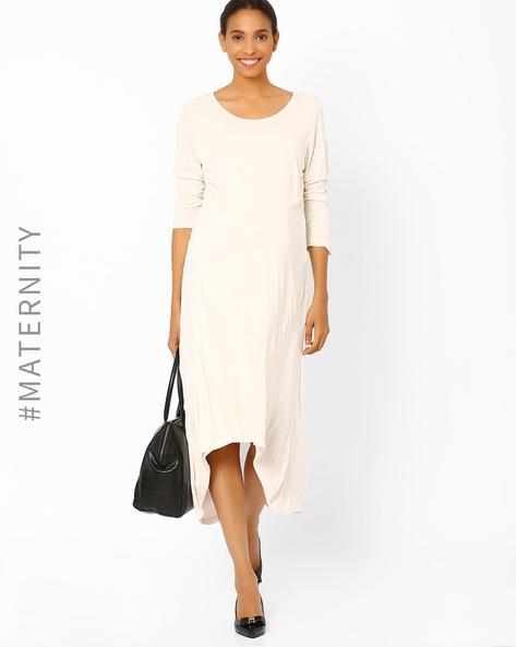 High-Low Maternity Dress By AJIO ( Beige )