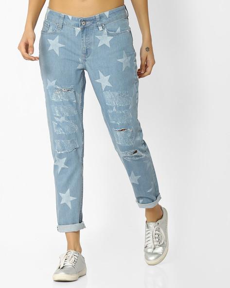 Star Print Distressed Slim Jeans By Blue Saint ( Blue )