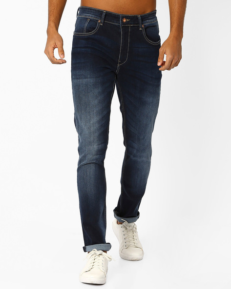 Mid-Washed Slim Tapered Fit Jeans By AJIO ( Darkblue )
