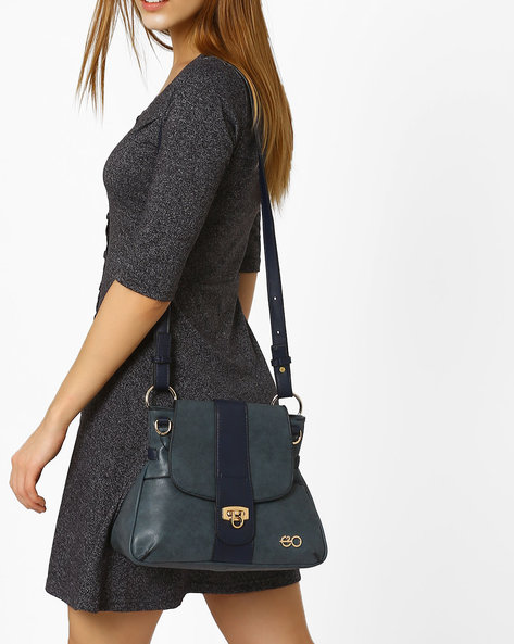 Faux-Leather Sling Bag By E2O ( Blue ) - 460070470001