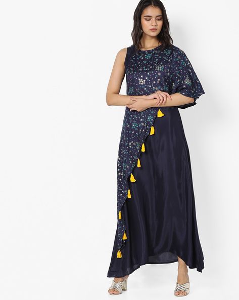 Maxi Dress With Printed Overlay By Akkriti By Pantaloons ( Navy )