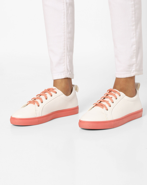 Casual Shoes With Contrast Lace-Up & Sole By AJIO ( Pink )