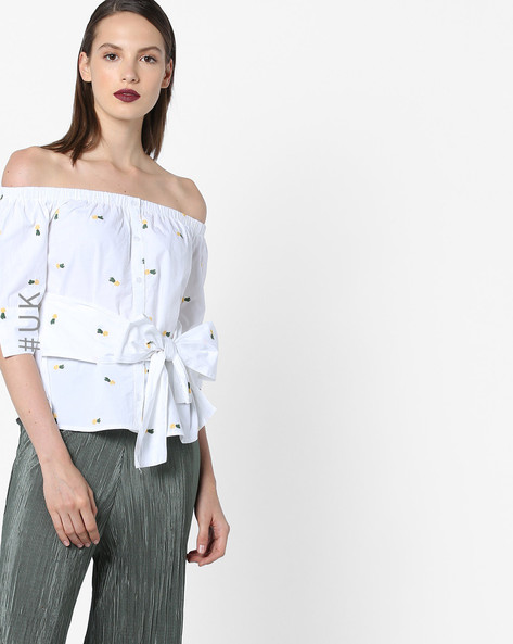 Off-Shoulder Top With Tie-Up By INFLUENCE ( White )
