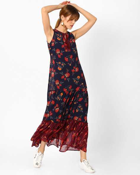 Floral Print Tiered Maxi Dress By AJIO ( Navyblue )