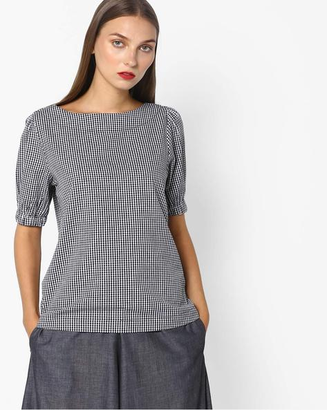 Checkered Boat Neck Top By Vero Moda ( Black )