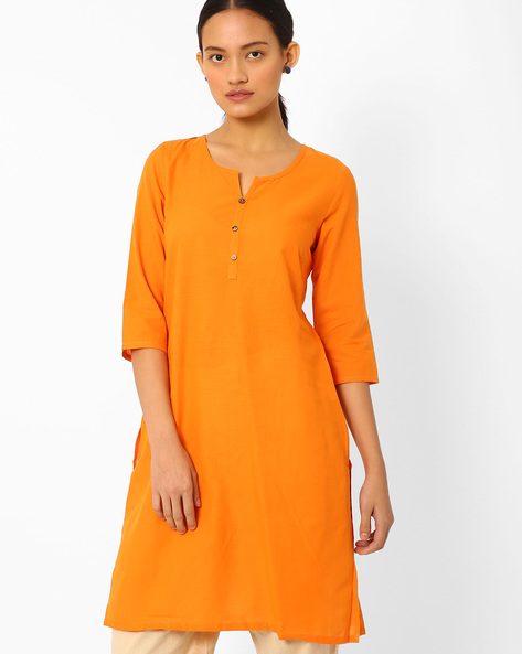 Cotton Straight Kurta By AURELIA ( Orange )
