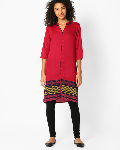 Printed Kurta With Contrast Panel By AVAASA MIX N' MATCH ( Pink )