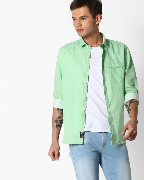 Slim Fit Shirt With Patch Pocket By NETPLAY ( Green )