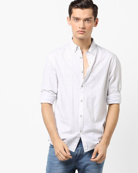 Ditsy Print Button-Down Shirt By AJIO ( White )