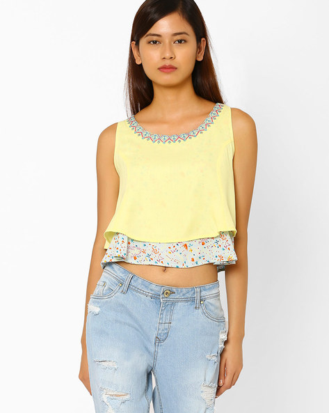 Layered Crop Top By AJIO ( Yellow )