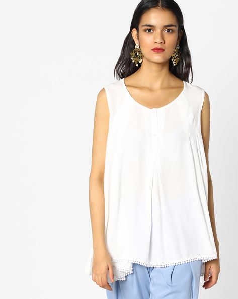 Flared Sleeveless Top By PE WW Casual ( Offwhite )