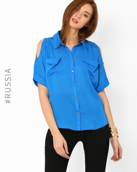 Shirt With Cold-Shoulder Sleeves By Kira Plastinina ( Blue )