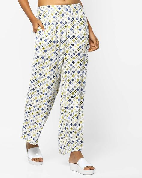 Printed Palazzos With Slant Pockets By PE WW Casual ( Offwhite )