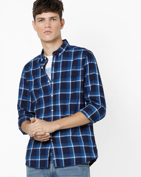 Slim Fit Checked Shirt With Button-Down Collar By FLYING MACHINE ( Navy )