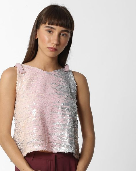 Sequined Top With Tie-Up Straps By Ginger By Lifestyle ( Pink )