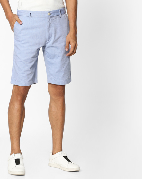 Slim Fit Flat-Front Shorts By INDIAN TERRAIN ( Blue )