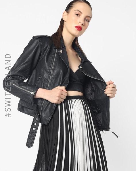 Biker Jacket With Front Zipper By TALLY WEiJL ( Black )