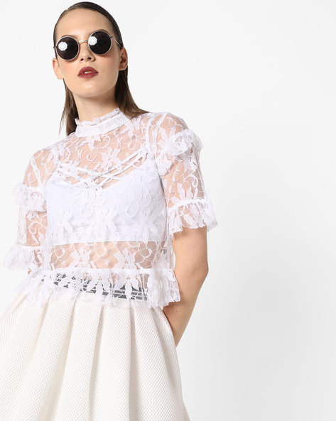 Sheer Lace Top With Ruffled Sleeves By AJIO ( Offwhite )
