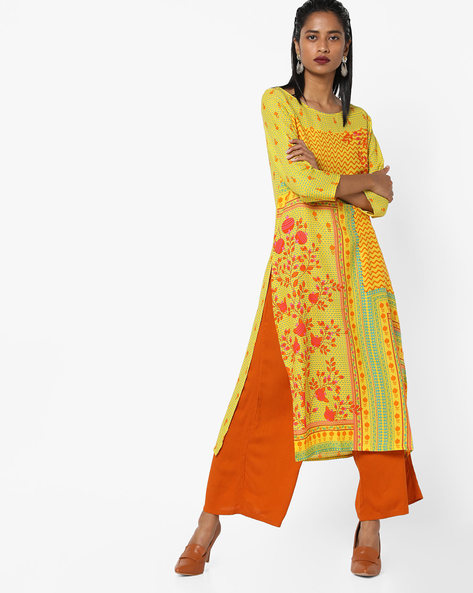 Printed Straight Kurta By Global Desi ( Yellow )