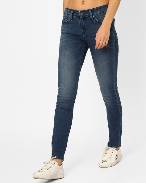 711 Lightly Washed Skinny Jeans By LEVIS ( Blue )