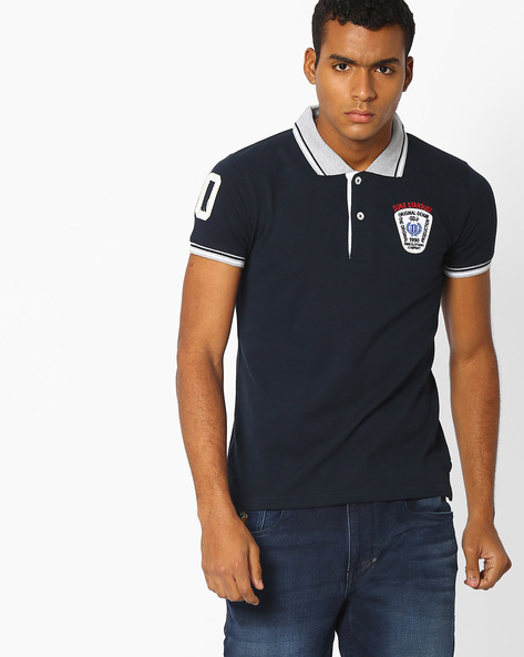 Slim Polo T-shirt With Stripe-Tipped Hems By DUKE ( Navy )