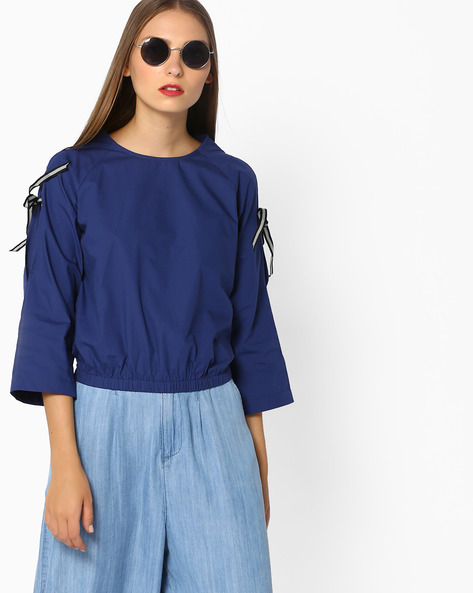 Blouson Top With Sleeve Tie-Ups By AJIO ( Navyblue )