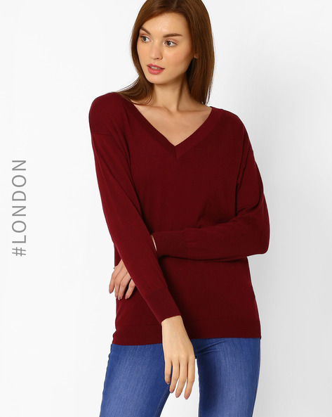 V-neck Pullover With Drop Shoulders By Marks & Spencer ( Burgundy )