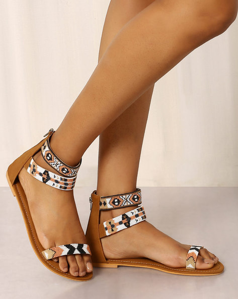 Beaded Sandals With Ankle Straps By Indie Picks ( Brown ) - 460017689003