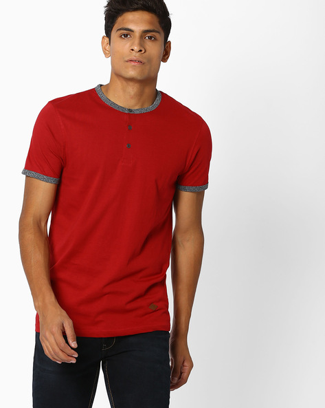 Henley T-shirt With Contrast Trims By DNMX ( Red )