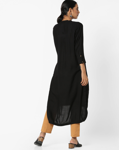 High-Low Kurta With Patch Pockets By Project Eve IW Casual ( Black )