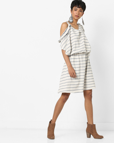 Striped Blouson Dress With Cold Shoulder Sleeves By AJIO ( Offwhite )