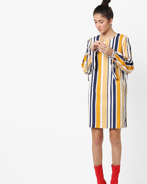 Striped Shift Dress With Tied Cuffs By AJIO ( Mustard )