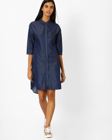 High-Low Hem Shirt Dress By AJIO ( Blue )