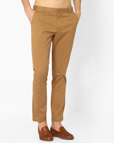 Mid Rise Slim Fit Stretch Chinos By AJIO ( Darkbrown )