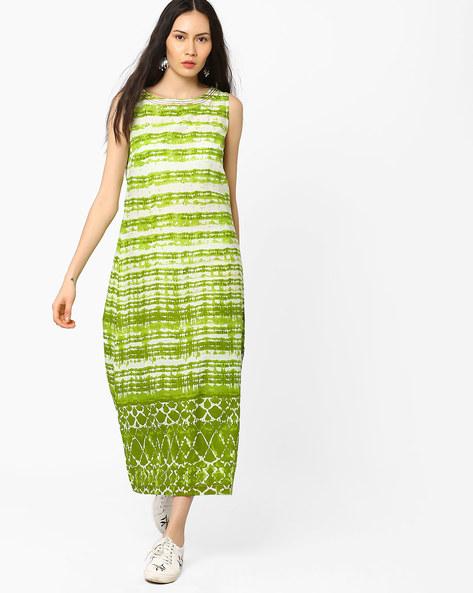 Printed Maxi Dress With Single Slit By AJIO ( Olive )