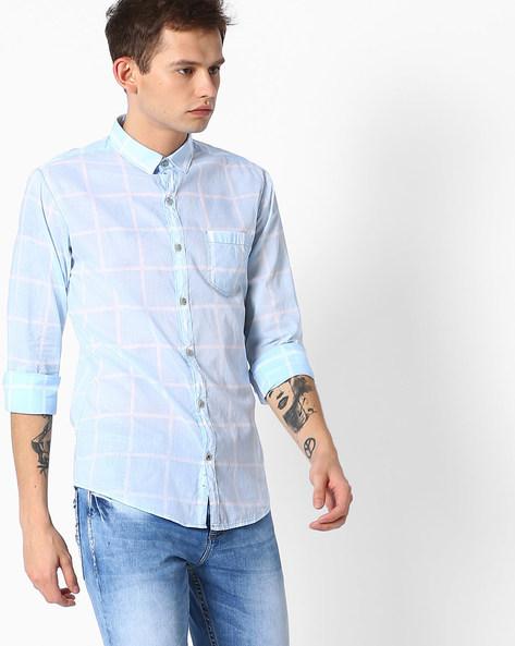 Checked Slim Fit Shirt By MUFTI ( Lightblue )