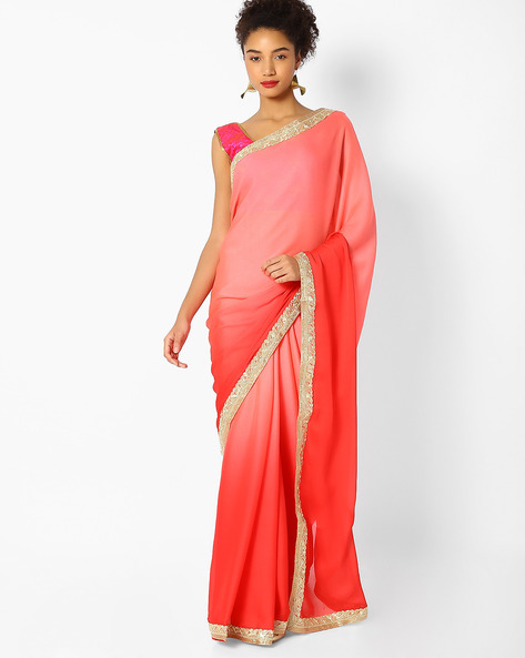 Woven Saree With Embroidered Border By Majestic Silk ( Pink ) - 460100246001